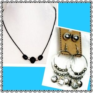 3pc set, necklace & 2 pairs of earrings